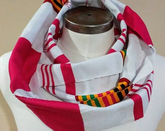 Authentic African Kente Cloth Scarf, Wrap Around Infinity Scarf, Pink and White, Personalized Embroidery Optional