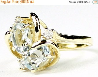 On Sale, 30% Off, Aquamarine, 18Ky Gold Ring, R016
