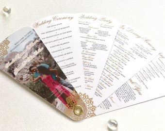 Golden Lace Fan Program Collection O Unique Wedding Programs O5 Petals Without