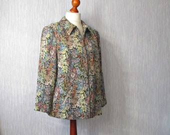 Green Floral  jacket Coat Lightweight with a zipper Vintage Khaki Blazer Art Mod  Size  Large plus