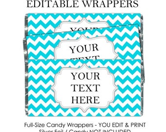 EDITABLE Printable Candy Wrappers,  fit over 1.55 oz chocolate bars - DIY, edit and print for baby shower, wedding shower or birthday