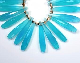 AAAA-35mm 6 Beads Natural Aqua Chalcedony Faceted Long Pair Tear Drop Shape Beads-Earring Beads(5537-38)