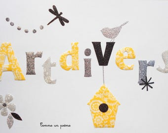 Applied fusible name or Word of your choice of liberty and grey yellow