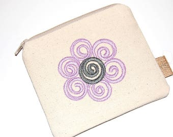 Flower Coin Purse, Canvas Coin Pouch, Change Purse, Money Holder, Business Card Holder, Gift Card Pouch, Purse Pouch, Zipper Pouch