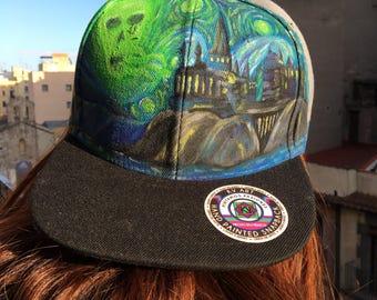Starry Night ft hogwarts hat hand-painted, Voldemort Harry Potter Van Gogh