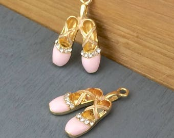 Pink Ballet Shoe Slipper 3D Pendant Charms Set of 2 Gold, Pink Enamel and Clear Rhinestones Dance Theatre DIY GIFT Jewelry Supply