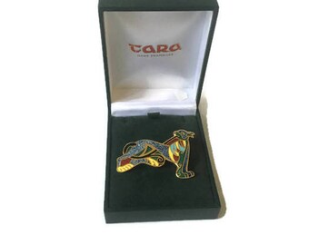 "Vintage Celtic Tara Hand Enameled Hound Dog Brooch in Original Box, Gallic Celtic Mythology Hound Enamel Brooch 2"" x 1.25"""