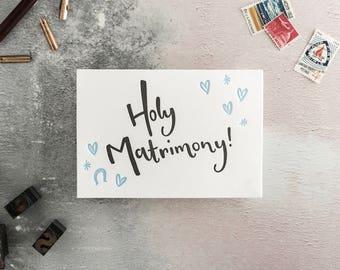 Holy Matrimony Letterpress Wedding Card