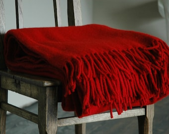 Pure Wool blanket with fringes Red blanket red fringes Wool blanket Pure wool throws Wool throw 55''X81''/140X205cm Perfect gift