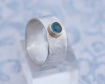 Topaz Jewelry, Wide Band Silver Ring with Blue Topaz, Wide Hammered Silver Ring, Blue Topaz Ring Size P, Topaz Ring Size 8, Topaz Jewellery