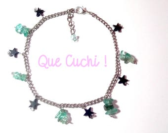 Hematite star and green Apatite chips ankle