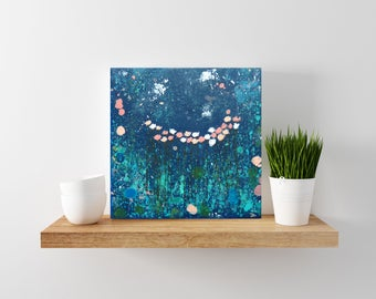 navy and pink painting - tiny art - flowers - floral art - nursery decor - boho flowers