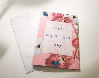 Happy Valentines A5 Card - Rose Card - Floral Valentines