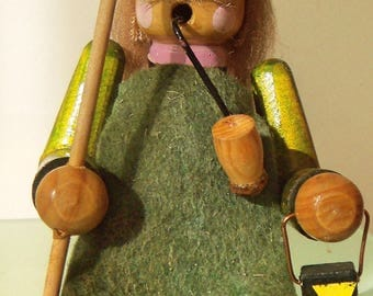Christmas Wooden Incense Smoker Medieval Watchmen,Made in Germany, 80's