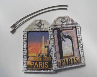 Custom luggage tags, Paris, France, set of 2, vintage art, travel posters, ID tags, travel accessory, travel gift, retirement gift, bagtag