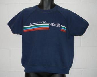 Vintage 70s 80s Assateague Island Maryland Short Sleeve Sweatshirt Fits XS/S