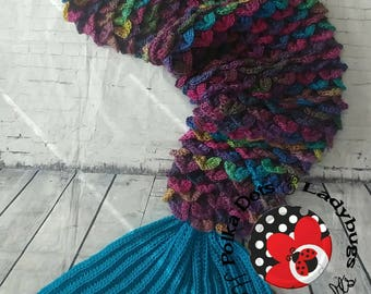 Mermaid tail blanket with fin -  adult mermaid tail- kid mermaid tail - Crocodile stitch   - Cocoon - Crochet afghan - ***MADE to ORDER**