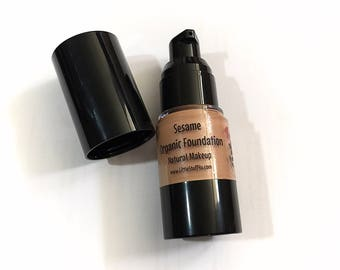 SESAME Liquid ORGANIC Foundation - Natural Makeup Vegan Gluten Free - Serum Liquid Mineral Makeup