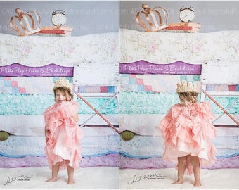 Princess and The Pea Photography Backdrop, Fairy Tales, Vintage, Shabby Chic, Crown, Mattresses, Outdoors, Vinyl or Poly many sizes, Girls