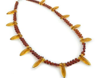Vintage Glass Bead Necklace, Brown, Yellow, U54
