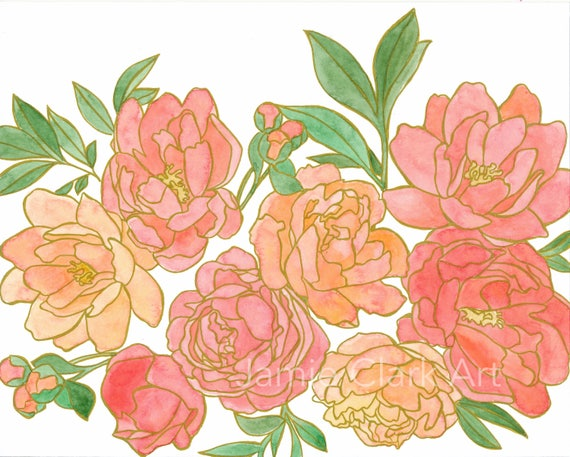 Original 8x10 Watercolor Peony Painting