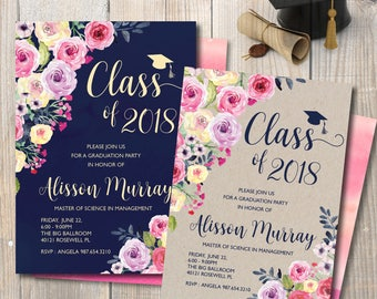 Graduation Invitation, Graduation Announcement, Pink and Navy Blue Graduation Invitation, Double-Sided, Watercolor roses