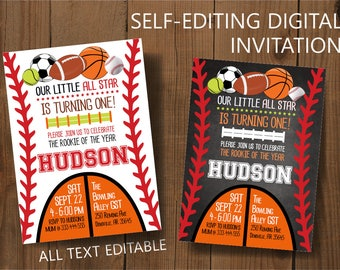 All Star Birthday Party Invitation,  All Sports Birthday Party, Baseball Party, All Stars Birthday, Edit with Adobe Reader