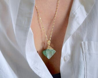 Green fluorite necklace, fluorite necklace, fluorite rhombus necklace, green gemstone necklace