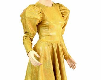 """Puffed Sleeve """"Victoria"""" Crew Neck Skater Dress in Gold Sparkly Jewel Darted Fit and Flare Space Robot Costume - 154652"""