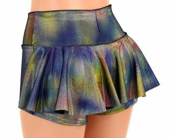 High Waist Ruffle Rump Velvet Oil Spill Shiny Holographic Soft Cuddly Stretchy Booty Shorts - 155033