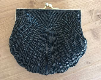 Carlo Fellini Sea Shell Clutch Black Beaded Deco Cocktail Purse 1990s