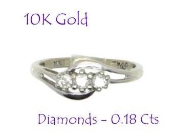 Diamond Engagement Ring - 10K White Gold Diamond Ring, Vintage Three Stone Round Diamond Ring, Perfect Gift, Gift Box, Size 6, FREE SHIPPING