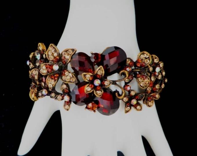 Red Rhinestone Clamper Bracelet, Vintage Ruby Red, White Rhinestone Gold Tone Hinged Bangle, Gift for Her