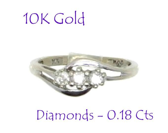Diamonds - 10K White Gold Diamond Ring, Vintage Three Stone Round Diamond Engagement, Wedding Anniversary Ring, Size 6