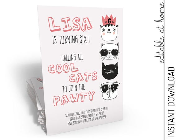Cool Cats Birthday Invitation INSTANT DOWNLOAD