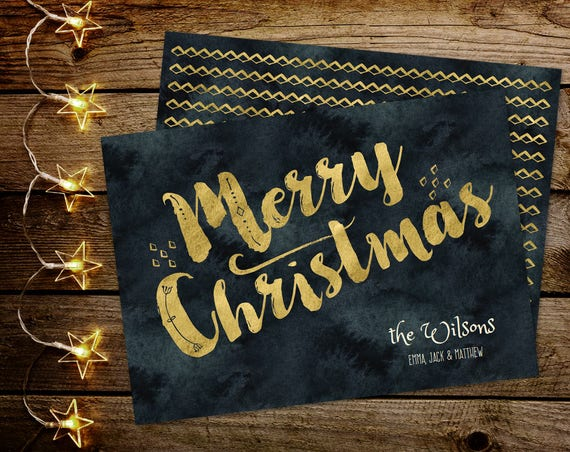 Gold Christmas Card INSTANT DOWNLOAD