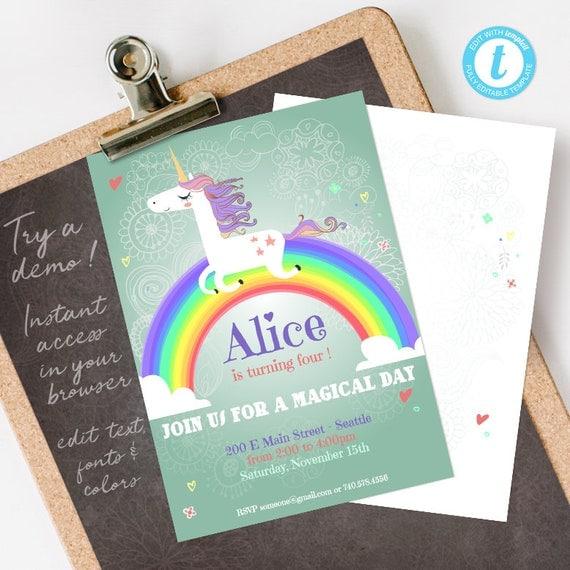 Unicorn Birthday Invitation, Unicorn Invitation, Unicorn Party Invitation, digital printable invite INSTANT DOWNLOAD editable PDF