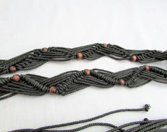 Charcoal Gray Macrame Belt with Beads and Long Tassel Ties