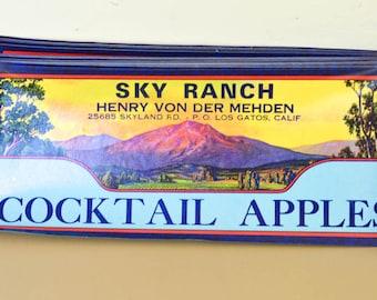 Fruit Crate Labels, Vintage Apple Crate, Ranch Labels, Los Gatos, CA