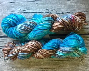 Shark Bait. Hoo Ha Ha. - Hand Dyed Superwash Merino Nylon Yarn - Bulky/ Chunky Weight Yarn - Hand Dyed Yarn