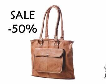 SALE / Women Goat Leather Bag / Leather Handbag / Shoulder Bag / Day Travel Bag / Brown Shopping Bag / Tote Bag / Satchel