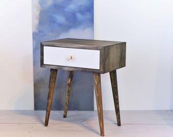Bedside Table Mid Century Modern Furniture Small Table Nightstand Wood Table  Natural Solid Pine Wood ALD