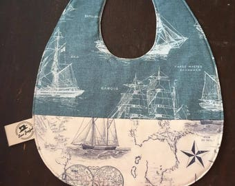 Nautical baby, Map, baby bib, Baby shower gift, baby boy , Sailor baby