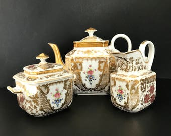 Old Paris Porcelain Tea Set Floral Design Heavy Gold circa 1830s Vieux Paris