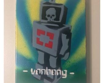 Original Painting 8x10 Canvas Skull Robot Art