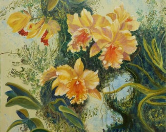 Oil on canvas - yellow ORCHIDS