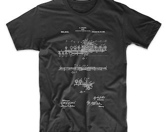 Flute 1908 Patent T Shirt, Music T Shirt, Flute Shirt, Musician Gift, Marching Band, Band Director Gift, PP0820