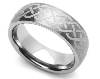 7MM Comfort Fit Tungsten Carbide Wedding Band Celtic Knot Engraved Domed Ring(CT439RTN)