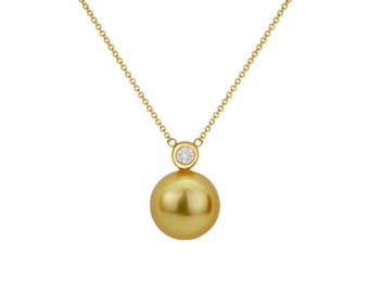 Women 14K Gold 0.8ct Diamond South Sea Cultured Golden Pearl Pendant Necklace(PSSPN11217G-RG)