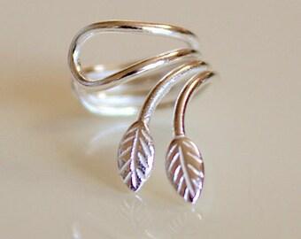 925 Sterling Silver LEAF Ear Cuff for Left Ear Earring - EC6151